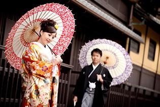京都の街並みでのロケーション前撮り